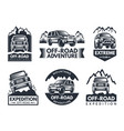 monochrome labels set with suv cars vector image