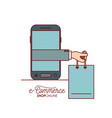 smartphone with executive hand holding a bag vector image