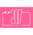 2017 Happy New Year Flat Style Background with vector image vector image
