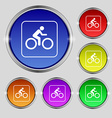 Cyclist icon sign Round symbol on bright colourful vector image