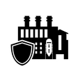 factory and shield icon vector image