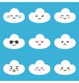 Flat design cartoon cute cloud characters vector image vector image