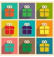 Set of flat web icons with long shadow gift vector image
