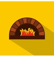 Brick pizza oven with fire icon flat style vector image