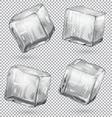 transparent ice cubes set of 4 pieces vector image