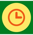 Clock flat orange and yellow colors round button vector image