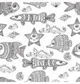 Hand draw seamless pattern ornament fishes vector image