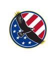 American Eagle Flying USA Flag Retro vector image