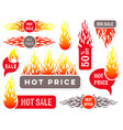 hot price sale text labels flame design vector image