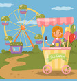 ice cream stall amusement park concept vector image
