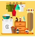 Laundry room in flat style vector image