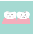 Tooth gum icon Healthy smiling tooth Crying bad vector image