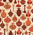 vintage seamless texture with ethnic vases vector image