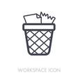 wastebasket outline icon workspace sign vector image
