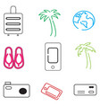 travel icons in simple style vector image