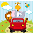 animals by car vector image