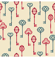 seamless pattern with cute vintage keys vector image