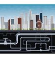 Imaginary Big City with Skyscrapers and Tubes vector image