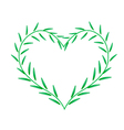 Fresh Green Leaves Forming in Beutiful Heart Shape vector image vector image