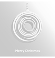 Abstract paper cut christmas ball with long shadow vector image
