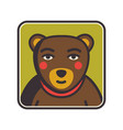 bear face flat icon animal icons series bear vector image