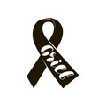 black mourning ribbon lettering grief vector image