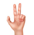 hand showing victory sign vector image
