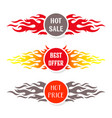 hot sale text labels flame design vector image