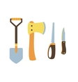 Knife ax shovel hand saw vector image
