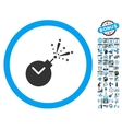 Time Fireworks Charge Flat Icon With Bonus vector image