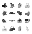 Hackers and hacking set icons in monochrome style vector image