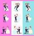 Set happy couple celebrating marriage dancing vector image