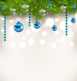 Christmas shimmering background with fir twigs and vector image