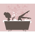 Beautiful woman taking a bath vector image vector image
