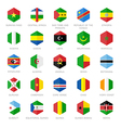Africa Flag Icons Hexagon Flat Design vector image
