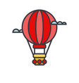 air balloon aerostat flat line vector image