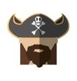 face pirate bearded hat skull bone long hair vector image