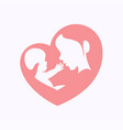 mother holding little baby in heart shaped vector image