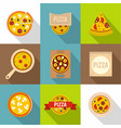 pizza emblem icons set flat style vector image