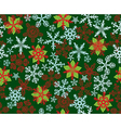 Poinsettias Snowflakes Green vector image