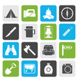 Flat tourism and hiking icons vector image vector image