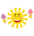 Smiling happy sun holding ice cream isolated vector image