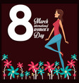 8 march womens day card girl cheerful vector image vector image