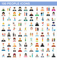 100 people icons set flat style vector image