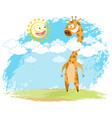 giraffe and sun vector image