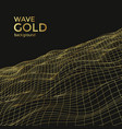wireframe gold wave vector image vector image