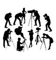 photographer professional and model silhouettes vector image