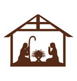 stable with holy family manger vector image