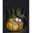 halloween pumking and evil monster vector image