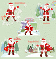 Collection of Santa Claus Santa Claus in the city vector image